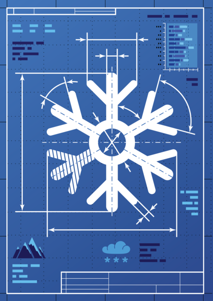 Blueprint snowflake holiday cards blueskycards preview image for product titled blueprint snowflake malvernweather Choice Image