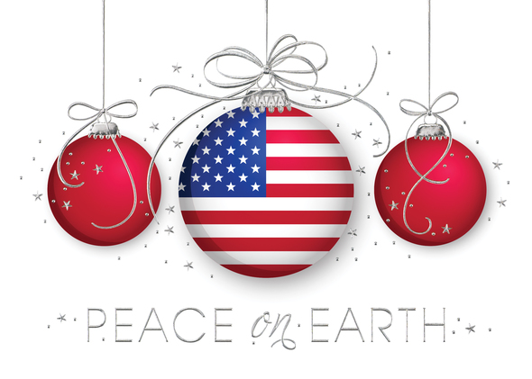 Patriotic Christmas Background.Business Holiday Cards Featuring Ornaments Blue Sky Cards